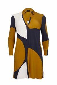 **Live Unlimited Mustard Abstract Circle Print Dress, Dark Multi