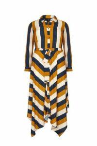 **Live Unlimited Mustard Chevron Print Shirt Dress, Dark Multi