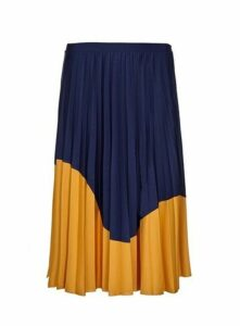 **Live Unlimited Mustard Jersey Pleated Skirt, Dark Multi
