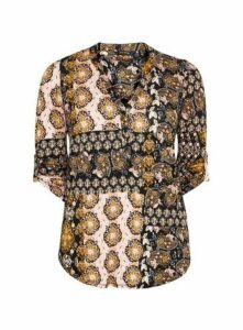 Yellow Print 3/4 Sleeve Shirt, Dark Multi