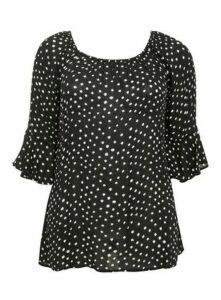 Black Polka Dot Print Gypsy Top, Black