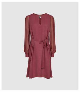 Reiss Leah - Metal Trim Mini Dress in Berry, Womens, Size 16