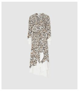 Reiss Mia - Feather Printed Midi Dress in White, Womens, Size 16