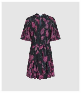 Reiss Marsali - Feather Printed Mini Dress in Pink, Womens, Size 16