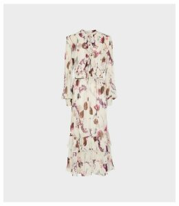 Reiss Aster - Floral Printed Midi Dress in Cream, Womens, Size 16