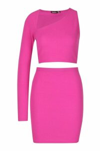 Womens Asymetric One Shoulder Top And Mini Skirt Co-ord - Pink - 14, Pink