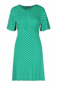 Womens Polka Dot Flared Sleeve Jersey Tea Dress - green - 14, Green