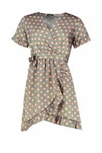 Womens Polka Dot Ruffle Belted Tea Dress - green - 12, Green