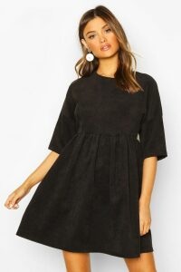 Womens Cord Smock Dress - black - 16, Black