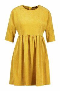 Womens Cord Smock Dress - yellow - 16, Yellow