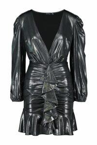 Womens Metallic Ruffle Detail Dress - grey - 16, Grey