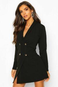 Womens Tailored Wrap Blazer Dress - black - 16, Black