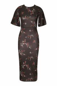 Womens Flutter Sleeve Open Back Midi Dress - black - 16, Black