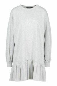 Womens Drop Hem Long Sleeve Sweatshirt Dress - grey - 16, Grey