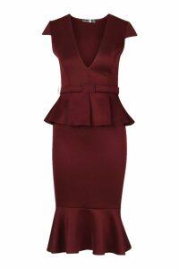 Womens Belted Peplum Midi Dress - red - 8, Red