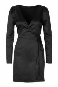Womens Satin Button Detail Wrap Dress - black - 14, Black