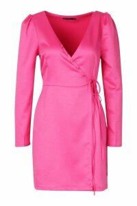 Womens Satin Button Detail Wrap Dress - Pink - 14, Pink