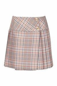 Womens Tonal Check Pleated Mini Skirt - brown - 14, Brown
