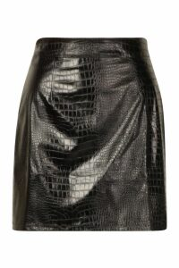 Womens Mock Croc Vinyl Mini Skirt - black - 16, Black