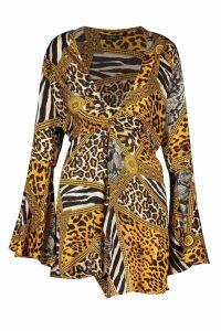 Womens Chain Animal Print Plunge Front Twist Shift Dress - orange - 16, Orange
