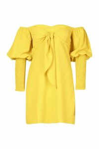 Womens Off The Shoulder Puff Sleeve Shift Dress - yellow - 14, Yellow