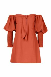 Womens Off The Shoulder Puff Sleeve Shift Dress - pink - 14, Pink