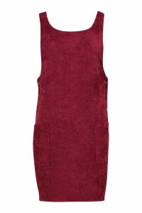 Womens Cord Button Detail Pocket Pinafore Dress - red - 16, Red