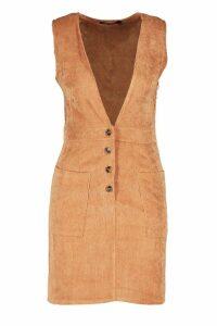 Womens Cord Plunge Button Detail Mini Dress - brown - 14, Brown