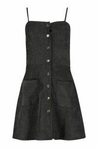 Womens Cord Button Through Skater Dress - black - 16, Black