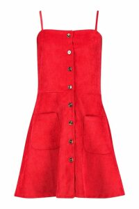 Womens Cord Button Through Skater Dress - red - 14, Red
