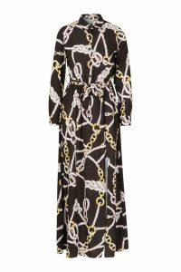 Womens Woven Chain Print Tie Belt Midi Dress - black - 10, Black