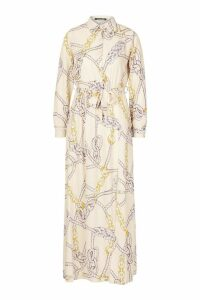 Womens Woven Chain Print Tie Belt Midi Dress - beige - 16, Beige