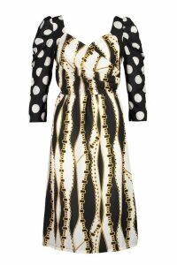 Womens Chain Spot Print Midi Dress - black - 16, Black