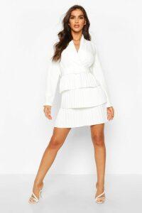 Womens Belted Pleated Detail Blazer Dress - white - 16, White