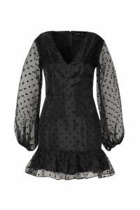 Womens Organza Polka Dot Mini Dress - black - 10, Black
