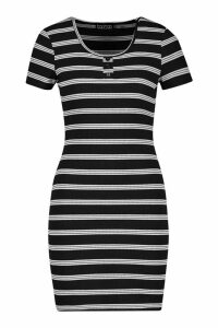 Womens Stripe Ribbed Bodycon Mini Dress - black - 14, Black