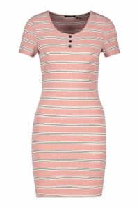 Womens Stripe Ribbed Bodycon Mini Dress - Pink - 14, Pink