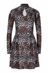Womens Leopard High Neck Skater Dress - black - 16, Black