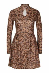 Womens Leopard High Neck Skater Dress - brown - 14, Brown
