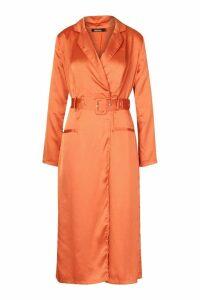 Womens Satin Plunge Wrap Shirt Dress - orange - 16, Orange