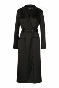 Womens Satin Plunge Wrap Shirt Dress - black - 16, Black