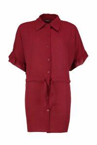 Womens Frill Sleeve Tie Waist Shirt Dress - red - 14, Red
