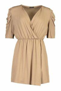 Womens Volume Sleeve Wrap Detail Dress - beige - 14, Beige