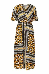 Womens Leopard Geo Print Ruffle Sleeve Midaxi Dress - yellow - 10, Yellow