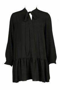 Womens Pussybow Drop Hem Smock Dress - black - 16, Black