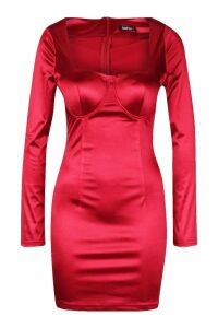 Womens Square Neck Bust Detail Dress - red - 16, Red