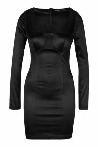 Womens Square Neck Bust Detail Dress - black - 16, Black