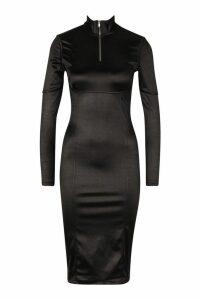 Womens Stretch Satin Zip Funnel Neck Midi Dress - black, Black
