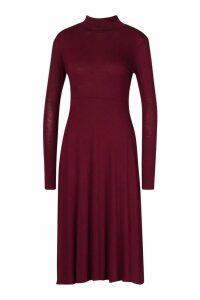 Womens Roll Neck Long Sleeve Midi Skater Dress - red - 16, Red