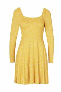 Womens Polka Dot Square Neck Long Sleeve Skater Dress - yellow - 16, Yellow
